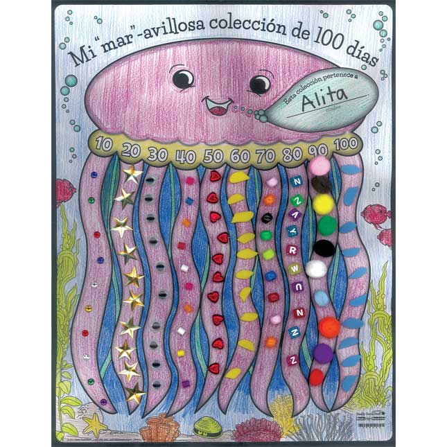 """Póster Mi Colección de 100 Dias (Spanish Ready-To-Decorate® """"Sea"""" My 100th Day Collection Posters)"""