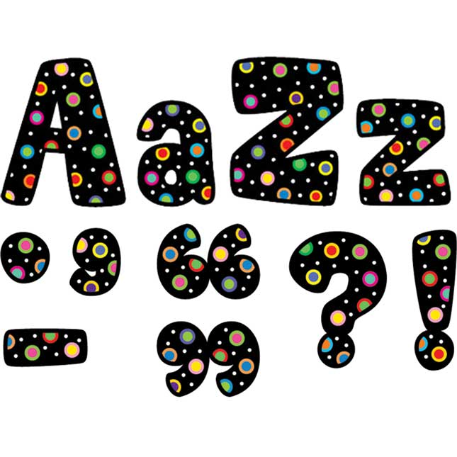 Poppin' Patterns® Designer Letters - Dots On Black