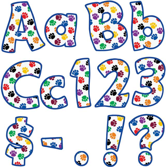 """Colorful Paw Prints Funtastic 4"""" Letters And Numbers"""