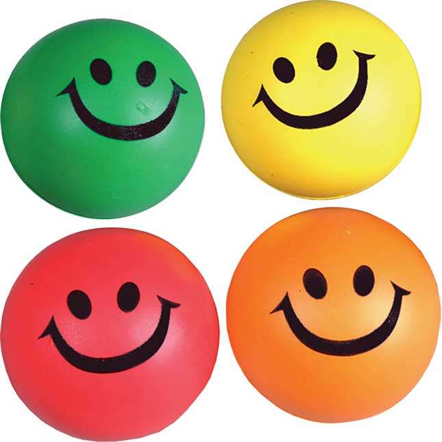 "2½"" Rubber Assorted Colors Smile Squeeze Ball"