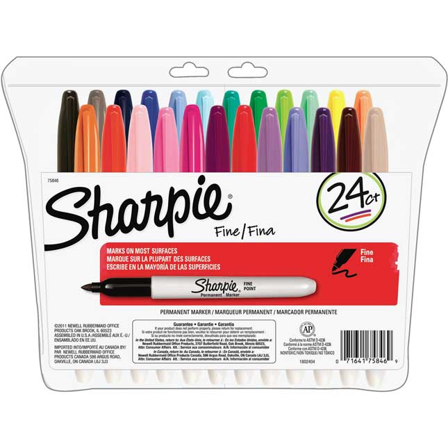 Sharpie® Fine Point Permanent Markers Assorted Colors - 24 Pack