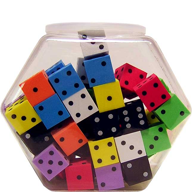 """Foam 1"""" (25mm) Spotted Dice - Assorted Colors"""