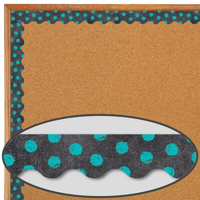 Dots On Chalkboard! Turquoise Border Trim