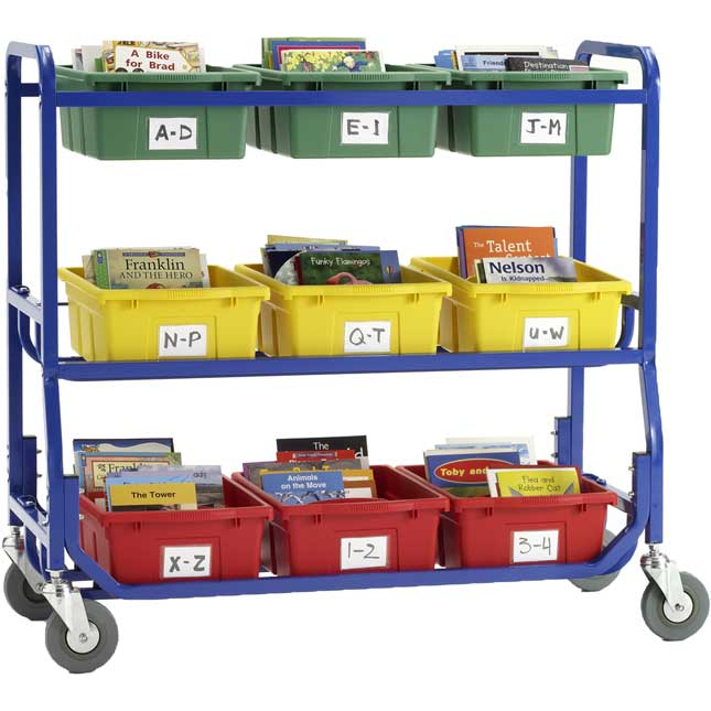 Library On Wheels Cart With 9 Royal Tubs