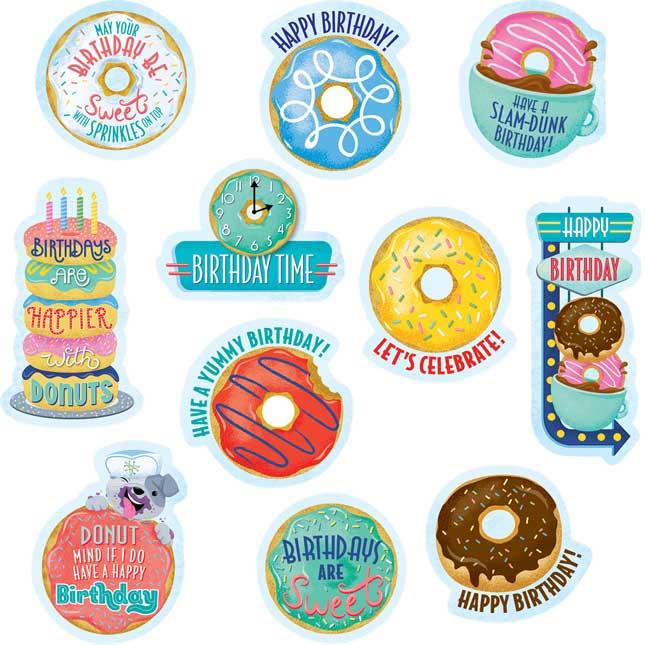 Mid-Century Modern Birthday Donuts Stickers