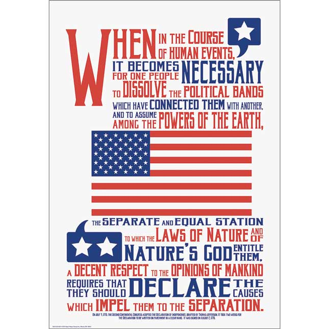 """Declaration Of Independence 13"""" X 19"""" Poster"""