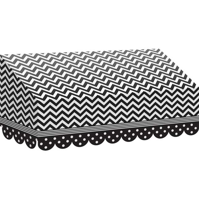 Black-And-White Chevrons And Dots Awning