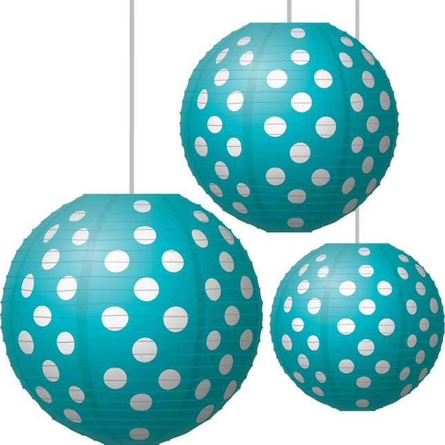 Polka Dot Paper Lanterns -Teal
