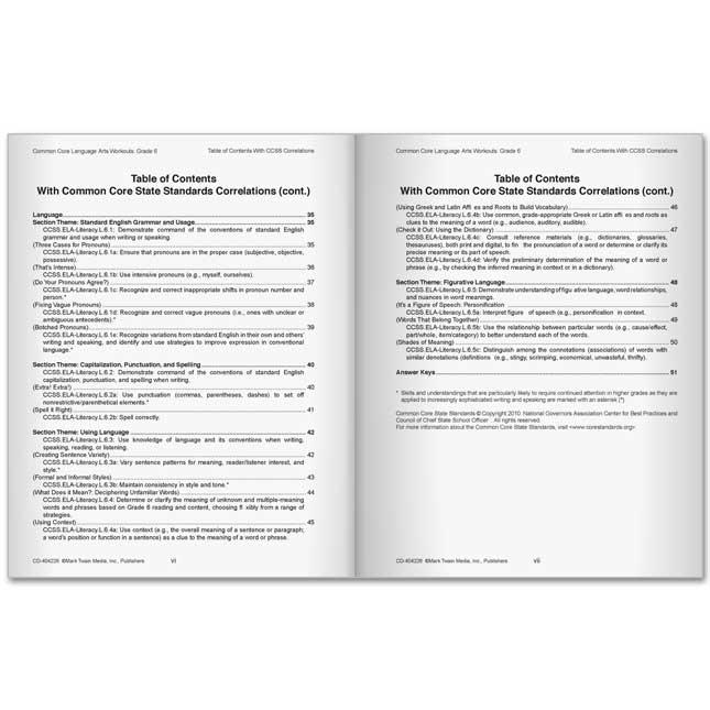 Common Core Language Arts Workouts Book - Grade 6