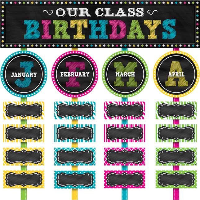 Chalkboard Brights Our Class Birthdays Mini Bulletin Board Kit