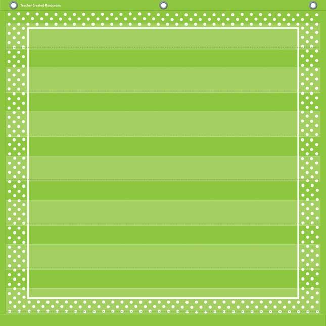 Lime Polka Dots Pocket Chart With 7 Pockets
