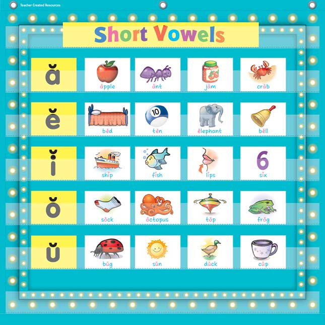 Marquee 7-Pocket Chart - Light Blue