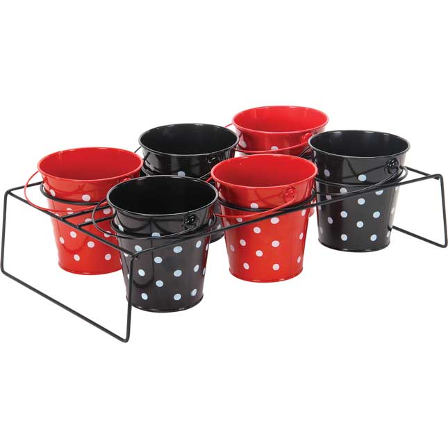 Classroom Supply Caddy With Black And Red Polka Dot Buckets