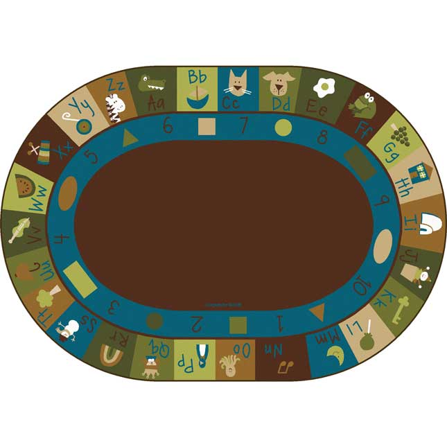 Nature's Colors Learning Blocks Carpets - Oval 6'x 9'