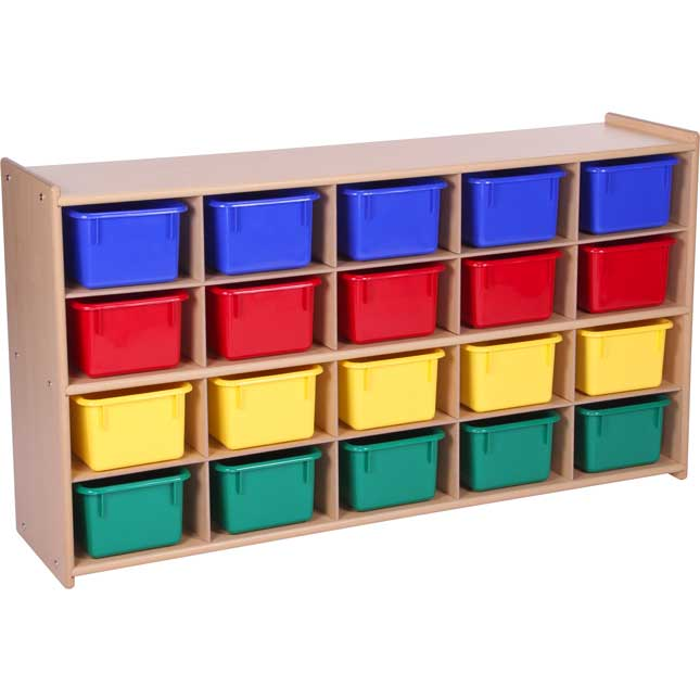 Value Line 20-Tray Cubby Storage with 20 Multicolored Trays