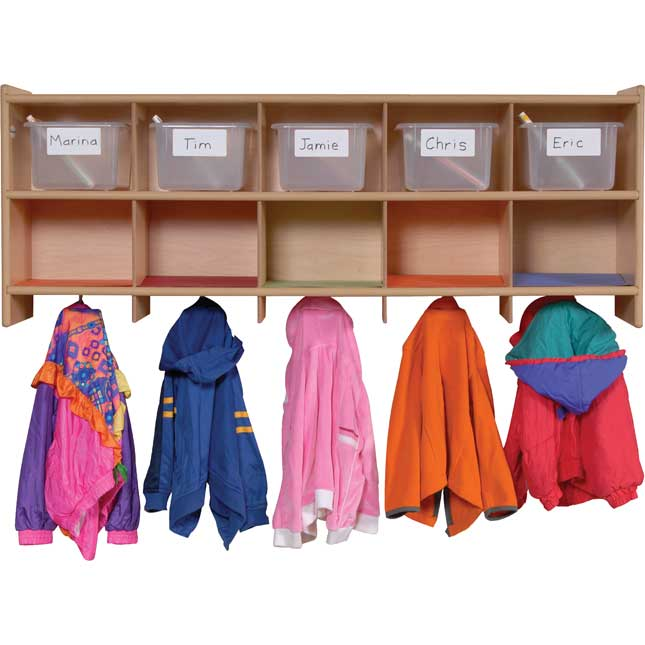 Value Line Wall Locker With 10 Coat Hooks And Cubbies