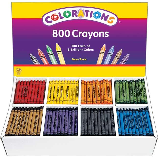 Colorations® Regular Crayons, 8 Colors - Set Of 800